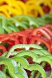 Frische grüne rote und gelbe Pfeffer Lizenzfreies Stockfoto
