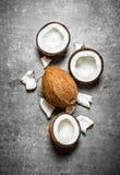 Frische harte Kokosnüsse Stockfoto