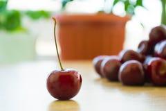 Frische köstliche Kirschen auf dem Tisch Lizenzfreie Stockbilder