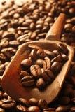 Frische Kaffeebohnen in einer hölzernen Schaufel lizenzfreies stockbild