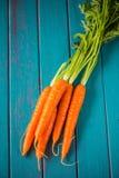 Frische Karotten des Bauernhofes auf blauer Tabelle Stockfotografie