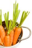Frische Karotten im Colander Stockfotografie