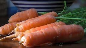Frische Karotten mit Blättern Nahaufnahme Lizenzfreies Stockbild