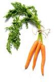 Frische Karotten mit den Blättern lokalisiert auf weißem Hintergrund Stockfotos