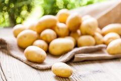 Frische Kartoffeln des Bauernhofes auf einem Sack des groben Sackzeugs stockbilder