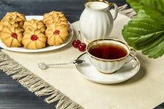 Frische Kekse des Tees mit Kirschen Stockfotos