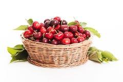 Frische Kirschen auf einem weißen Hintergrund Stockbild