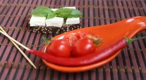 Frische Kirschtomaten und -paprika auf roter Platte Lizenzfreie Stockfotografie