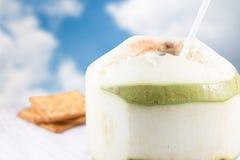 Frische Kokosnuss mit Crackern Stockbilder