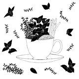Frische Kräuter in einer Teeschale Vektormuster auf des weißen Hintergrundes Stockfotos