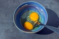 Frische Landeier Eigelbe von Eiern in einer blauen keramischen Schüssel Cooki Stockbilder
