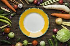 Frische Landwirte vermarkten Obst und Gemüse von oben genanntem mit Kopien-SP Stockfotos