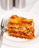 Frische Lasagne auf weißem Hintergrund Lizenzfreies Stockfoto