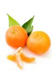 Frische Mandarine mit dem Blatt und orange Scheiben lokalisiert auf weißem BAC Lizenzfreies Stockbild
