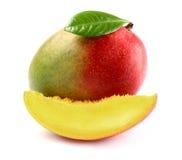 Frische Mango mit Scheibe stockfotos