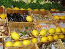 Frische Meeresfrüchte angezeigt auf einem Markt Stockfotos
