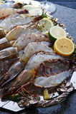 Frische Meeresfrüchteservierplatte Stockbild
