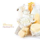Frische Milchprodukte. Stockbild