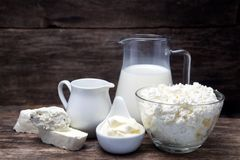Frische Milchprodukte Stockfotos