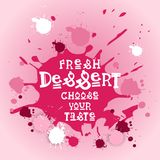 Frische Nachtische wählen Ihr Geschmack-Fahnen-Café Logo Colorful Sweet Beautiful Delicious lizenzfreie abbildung