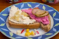 Frische Nahrungsmittelmit sahne Käsezwiebeln und -gurke lizenzfreies stockfoto