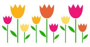 Bunte Frühling Tulpen in der Reihe stock abbildung