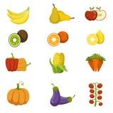 Frische Obst- und GemüseIkonen-Satz vektor abbildung