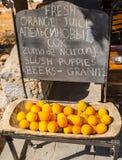 Frische orange Früchte im Zutritt zu Lindos ziehen sich zurück lizenzfreie stockfotografie