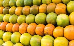 Frische orange Mandarine und grüne Zitrusfrüchte Stockfotos