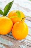 Frische Orangen auf einer Tabelle Stockbild