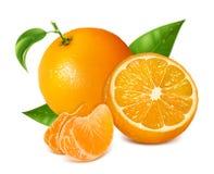 Frische Orangen trägt mit grünen Blättern und Scheiben Früchte Stockbilder