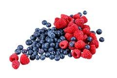 Frische organische Blaubeeren und Himbeeren Reiche mit Vitaminen Getrennt auf weißem Hintergrund Stockfotos