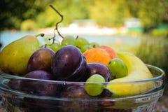 Frische organische Früchte auf der Platte Stockbild