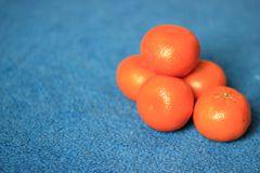 Frische organische Klementinen auf blauem Hintergrund lizenzfreie stockbilder