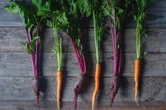 Frische organische rote Rübe und Karotte auf rustikalem hölzernem Hintergrund, gesunder Lebensstil, Herbsternte, rohes Gemüse, Dr Lizenzfreie Stockbilder
