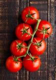 Frische organische Tomaten auf hölzernem Hintergrund des Schmutzes Lizenzfreies Stockbild