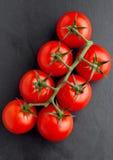 Frische organische Tomaten auf schwarzem Steinbrett Stockbilder