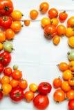 Frische organische Tomaten von verschiedenen Farben stockbild