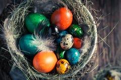 Frische Ostereier im Nest mit Heu Stockfotografie