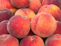 Frische Pfirsiche an einem Landwirt-Markt Stockfoto