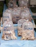 Frische Pilze in den Plastiktaschen Stockbilder