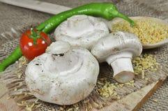 Frische Pilze, Kirschtomate, Weizen und ein grünes peper lizenzfreie stockfotos