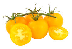 Frische Rebe gereifte Amber Tomatoes Lizenzfreie Stockfotografie