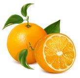 Frische reife Orangen mit Blättern. Stockbilder