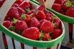 Frische reife s??e franz?sische Erdbeere im h?lzernen Korb stockbild