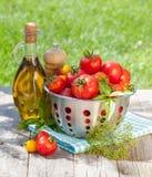 Frische reife Tomaten, Olivenölflasche, Pfefferschüttel-apparat und Kräuter Stockfotografie