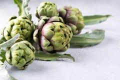 Frische rohe Artischocken auf grauem Hintergrund Reife organische Artischockenblume Lizenzfreie Stockfotos