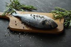 Frische rohe dorada Fische mit Rosmarin, Pfeffer und Salz auf einem hölzernen Brett und einer schwarzen Tabelle lizenzfreie stockfotos