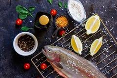 Frische rohe Lachse vorbereitet, am dunklen Hintergrund zu kochen stockbild