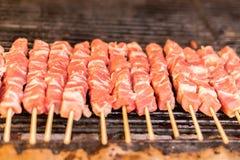 Frische rohe Schweinefleischbrustfilets des roten Fleisches auf einem Aufsteckspindelngrill-Grillgitter brät stockfotografie